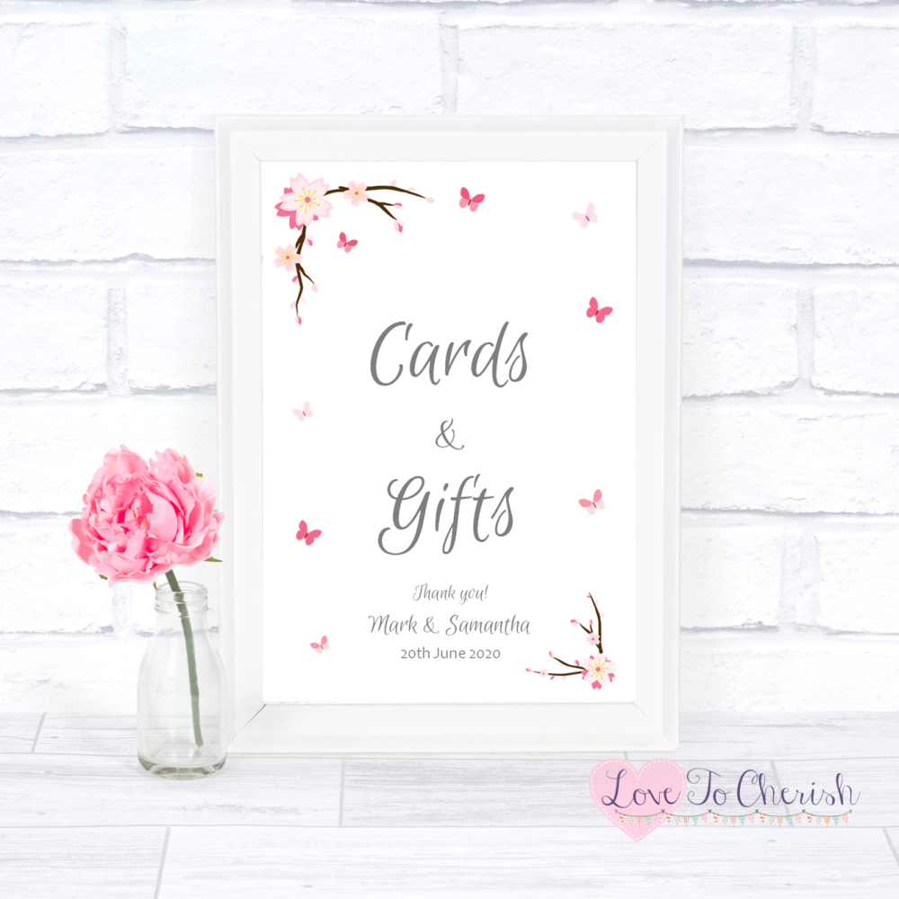 Cards & Gifts Wedding Sign - Cherry Blossom & Butterflies   Love To Cherish