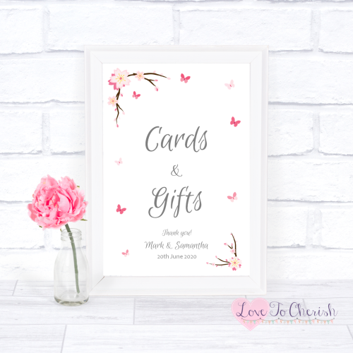 Cards & Gifts Wedding Sign - Cherry Blossom & Butterflies | Love To Cherish