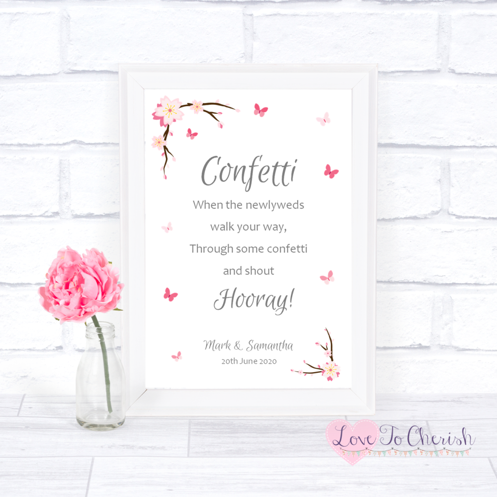 Confetti Wedding Sign - Cherry Blossom & Butterflies   Love To Cherish