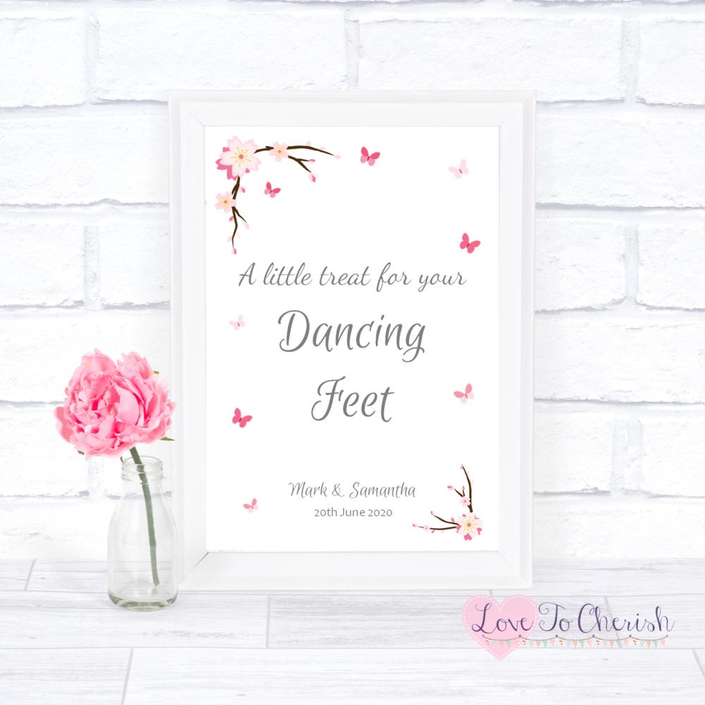 Dancing Feet / Flip Flops Wedding Sign - Cherry Blossom & Butterflies   Lov