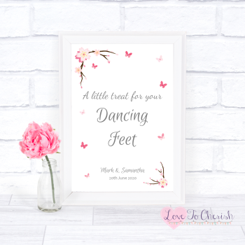 Cherry Blossom & Butterflies - Dancing Feet  - Wedding Sign