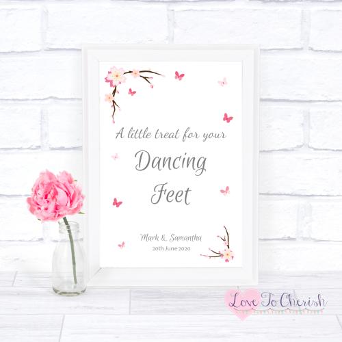 Dancing Feet / Flip Flops Wedding Sign - Cherry Blossom & Butterflies | Lov