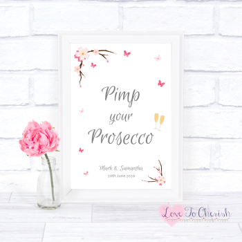 Cherry Blossom & Butterflies - Pimp Your Prosecco - Wedding Sign
