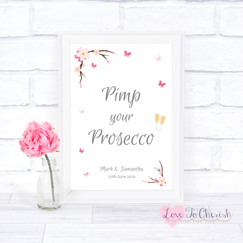 Pimp Your Prosecco Wedding Sign - Cherry Blossom & Butterflies | Love To Ch
