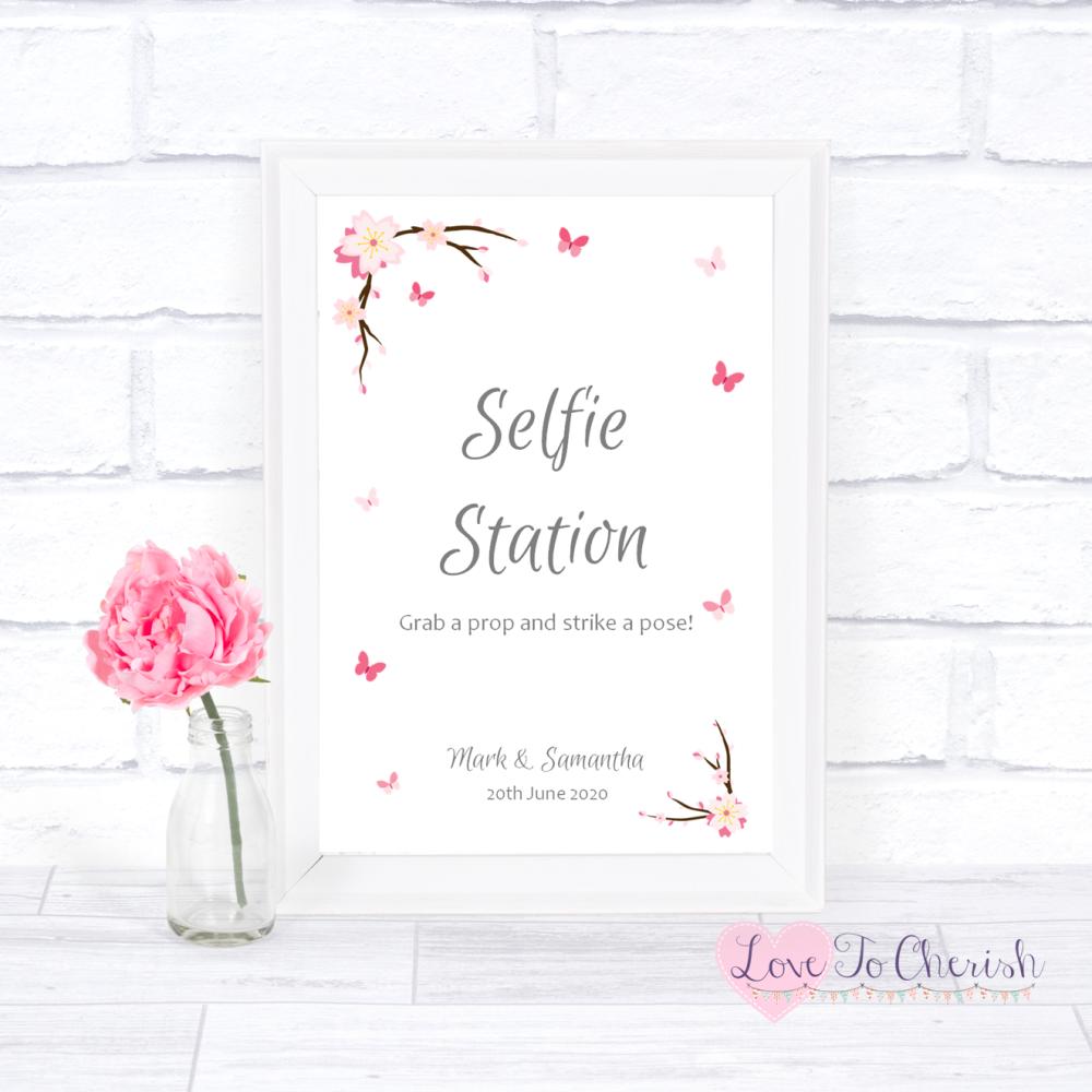 Selfie Station Wedding Sign - Cherry Blossom & Butterflies | Love To Cheris