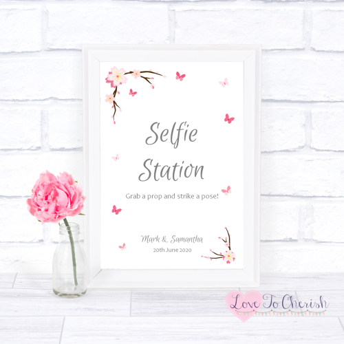 Selfie Station Wedding Sign - Cherry Blossom & Butterflies | Love To Cheris