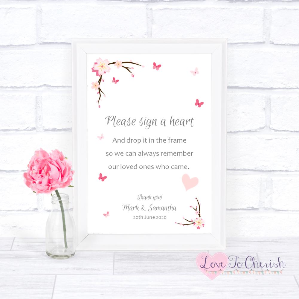 Sign A Heart Wedding Sign - Cherry Blossom & Butterflies   Love To Cherish