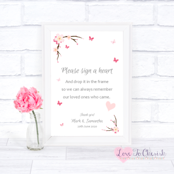 Cherry Blossom & Butterflies - Sign A Heart - Wedding Sign
