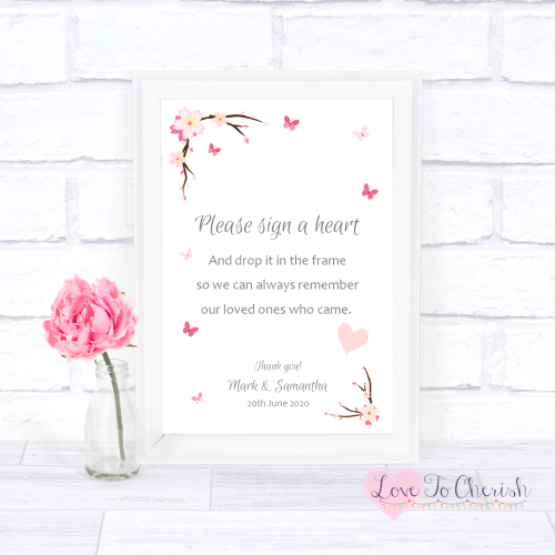 Sign A Heart Wedding Sign - Cherry Blossom & Butterflies | Love To Cherish