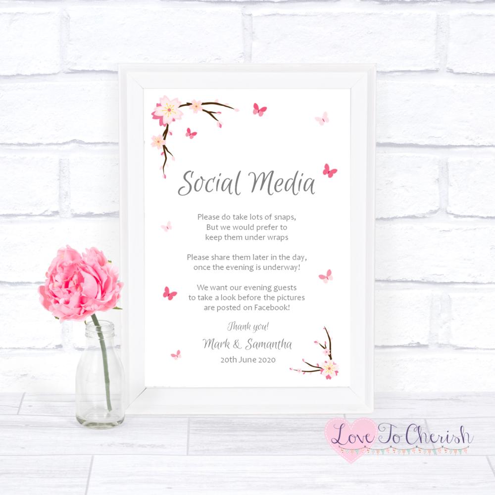 Social Media Wedding Sign - Cherry Blossom & Butterflies   Love To Cherish