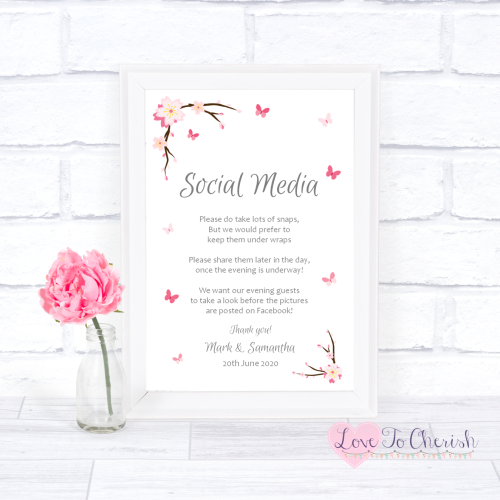 Social Media Wedding Sign - Cherry Blossom & Butterflies | Love To Cherish