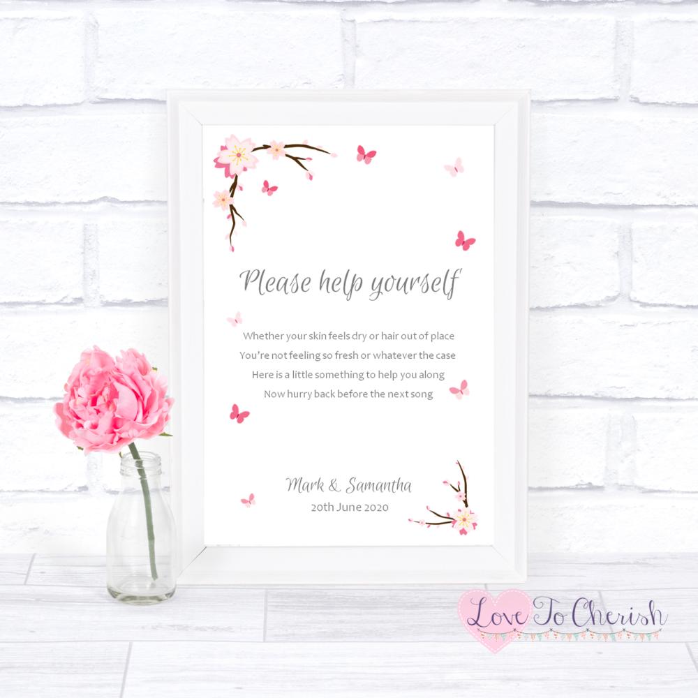 Toiletries/Bathroom Refresh Wedding Sign - Cherry Blossom & Butterflies   L
