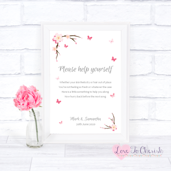 Cherry Blossom & Butterflies - Toiletries/Bathroom Refresh - Wedding Sign