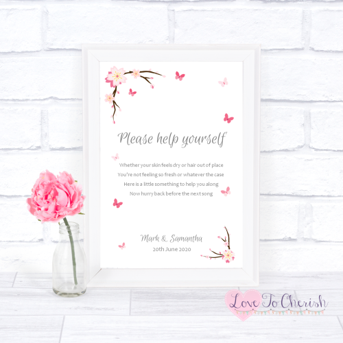 Toiletries/Bathroom Refresh Wedding Sign - Cherry Blossom & Butterflies | L