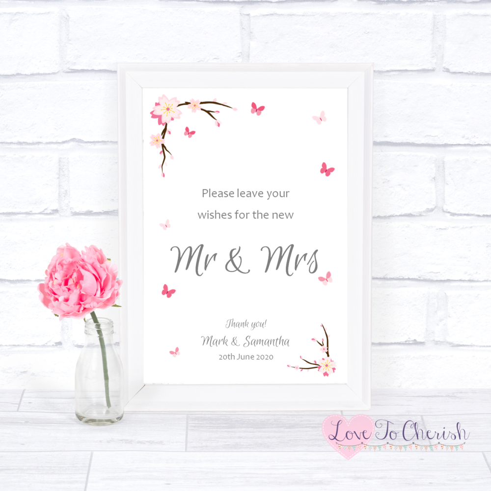 Wishes for the Mr & Mrs Wedding Sign - Cherry Blossom & Butterflies | Love