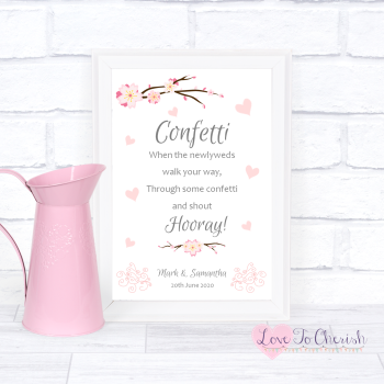 Cherry Blossom & Pink Hearts - Confetti - Wedding Sign
