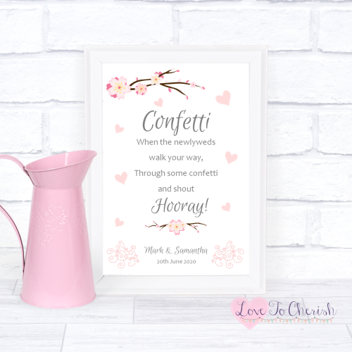 Confetti Wedding Sign - Cherry Blossom & Pink Hearts | Love To Cherish