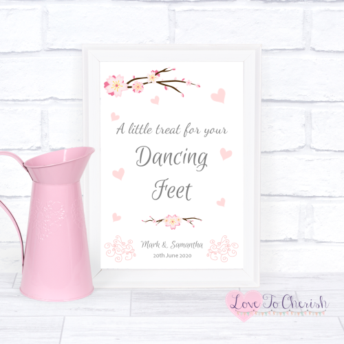 Dancing Feet / Flip Flops Wedding Sign - Cherry Blossom & Pink Hearts | Lov