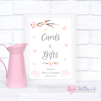 Cherry Blossom & Pink Hearts - Cards & Gifts - Wedding Sign