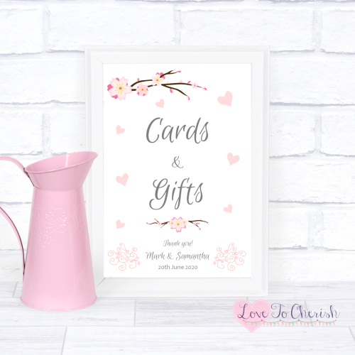 Cards & Gifts Wedding Sign - Cherry Blossom & Pink Hearts | Love To Cherish