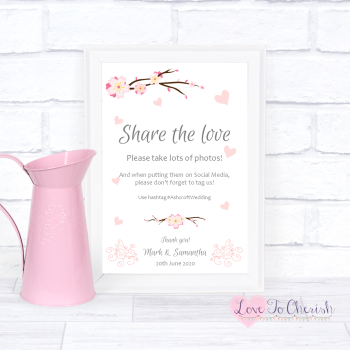 Cherry Blossom & Pink Hearts - Share The Love - Photo Sharing - Wedding Sign