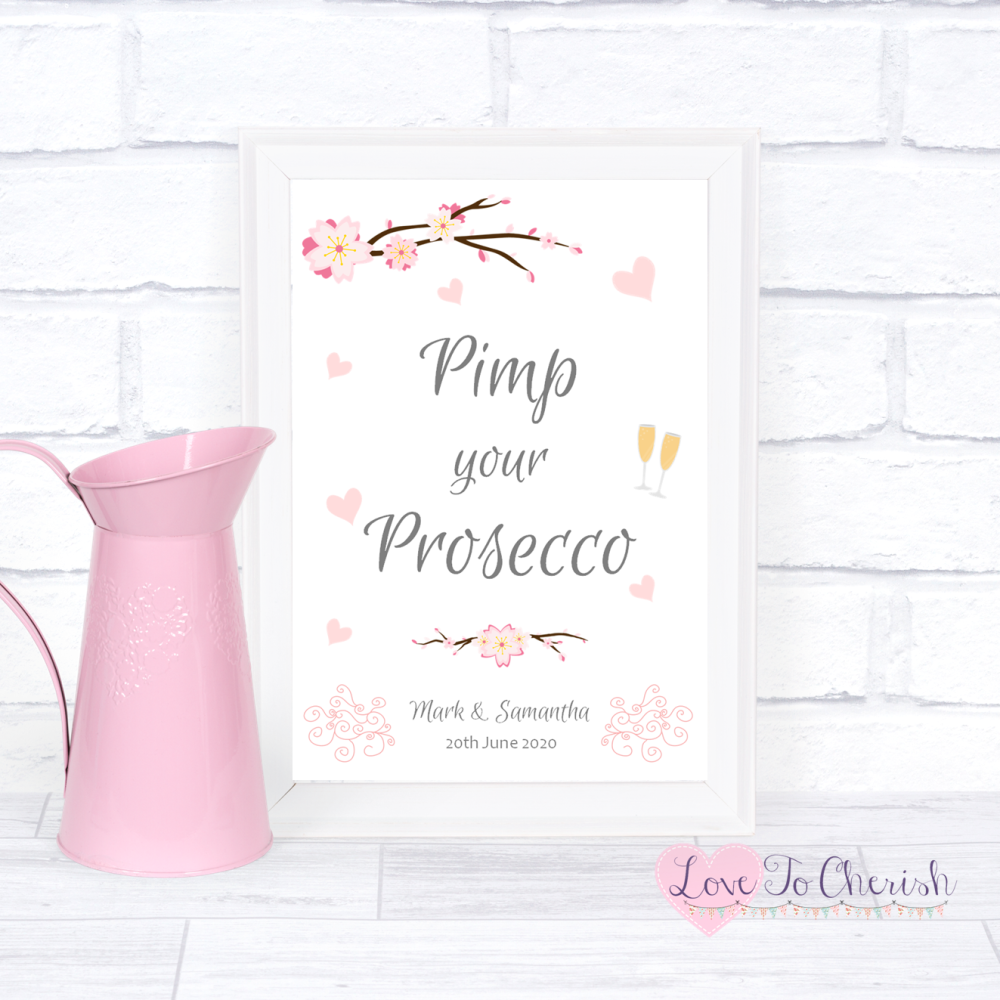 Pimp Your Prosecco Wedding Sign - Cherry Blossom & Pink Hearts | Love To Ch