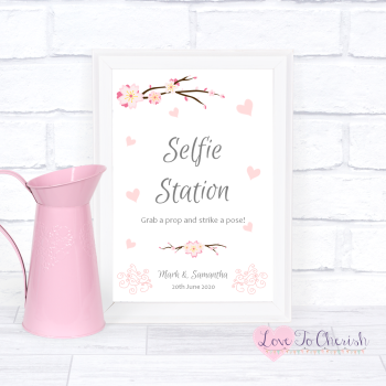 Cherry Blossom & Pink Hearts - Selfie Station  - Wedding Sign