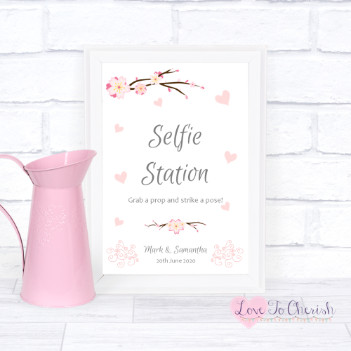 Selfie Station Wedding Sign- Cherry Blossom & Pink Hearts | Love To Cherish