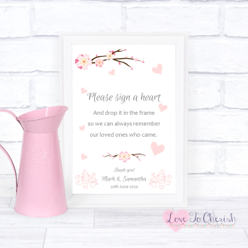 Cherry Blossom & Pink Hearts - Sign A Heart - Wedding Sign