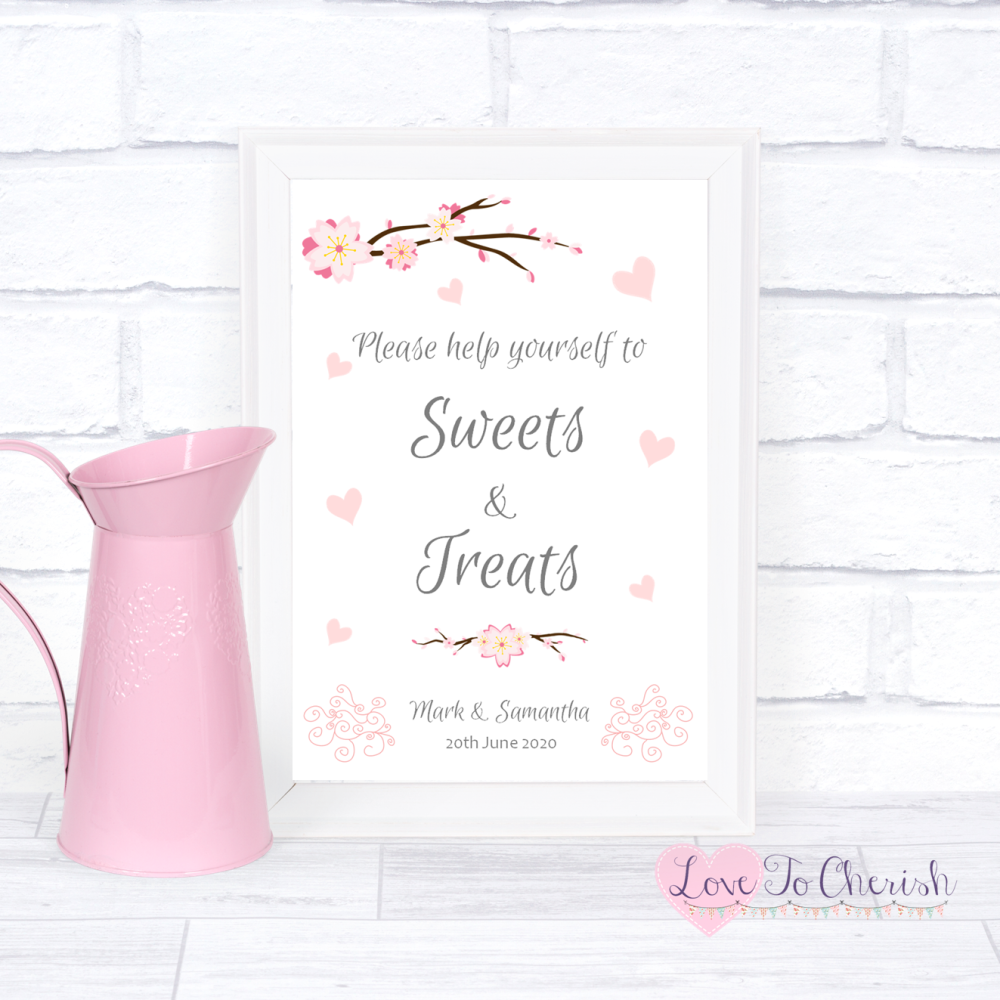 Sweets & Treats / Candy Table Wedding Sign - Cherry Blossom & Pink Hearts |