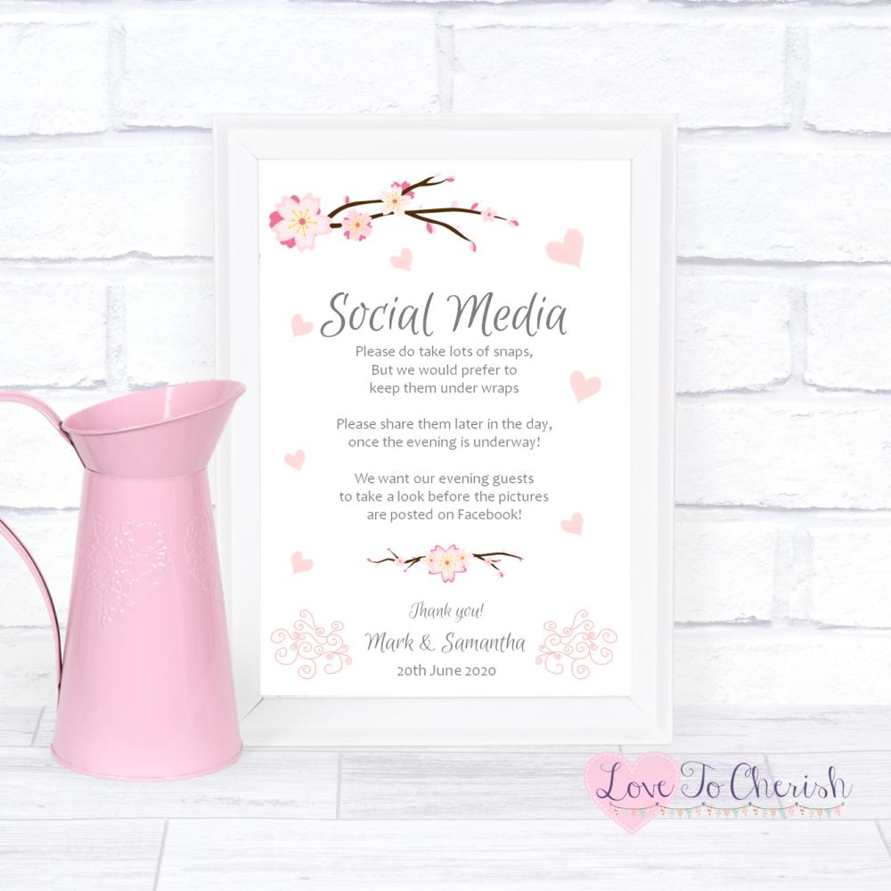 Social Media Wedding Sign- Cherry Blossom & Pink Hearts | Love To Cherish