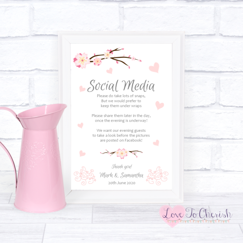 Social Media Wedding Sign- Cherry Blossom & Pink Hearts | Love To Cherish