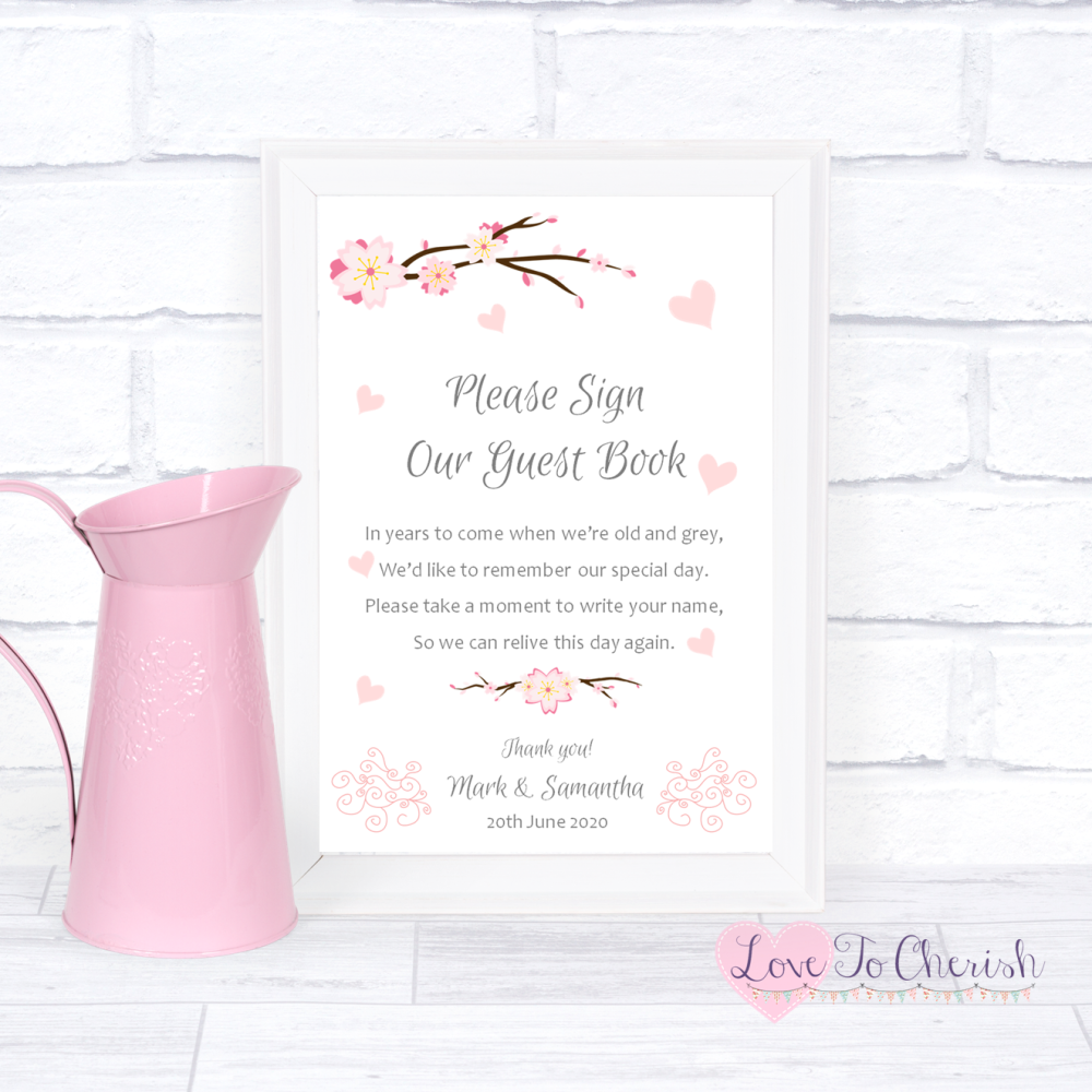 Sign Our Guest Book Wedding Sign- Cherry Blossom & Pink Hearts | Love To Ch