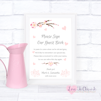 Cherry Blossom & Pink Hearts - Sign Our Guest Book - Wedding Sign