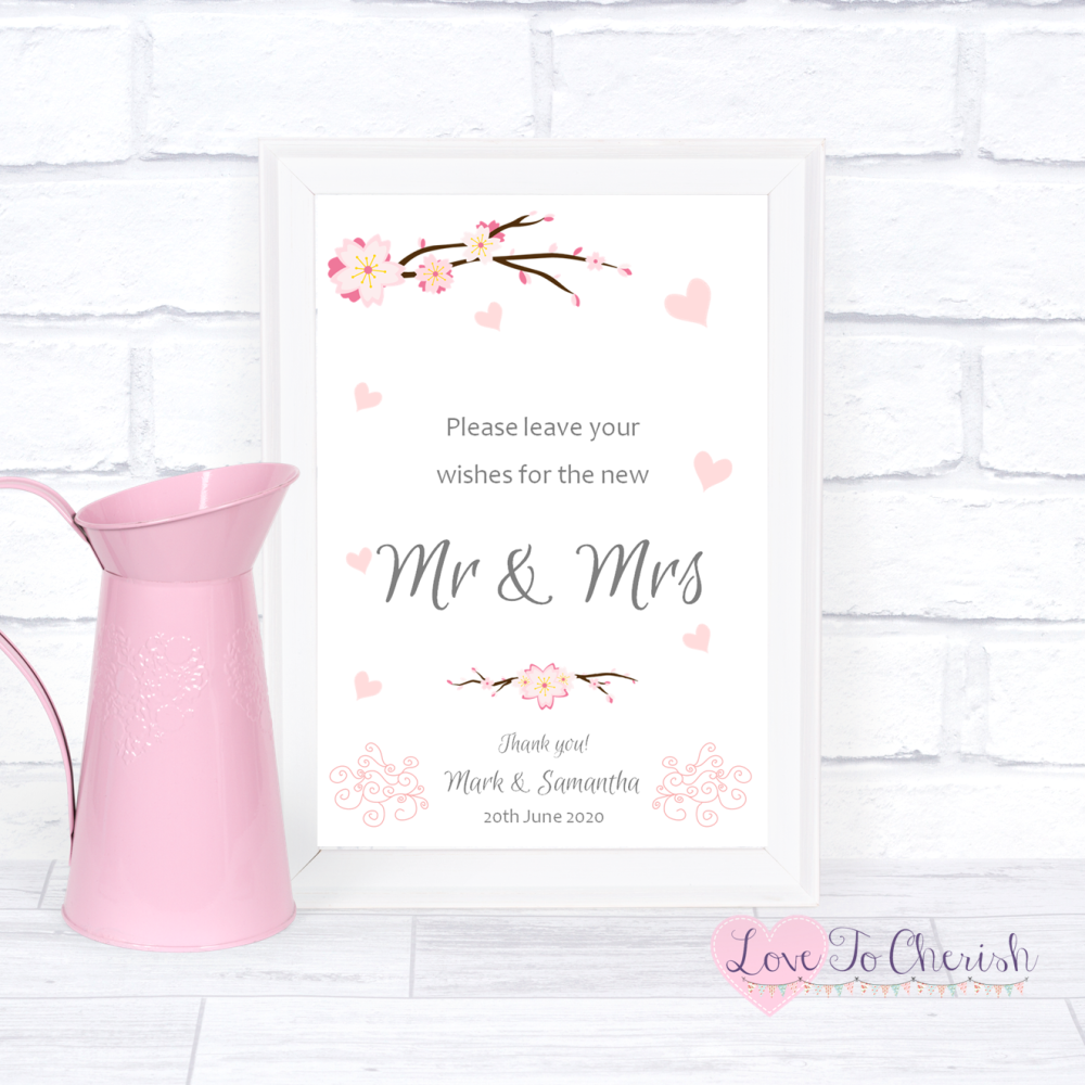 Wishes for the Mr & Mrs Wedding Sign - Cherry Blossom & Pink Hearts | Love