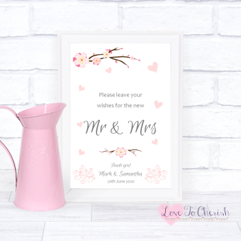 Cherry Blossom & Pink Hearts - Wishes for the Mr & Mrs - Wedding Sign