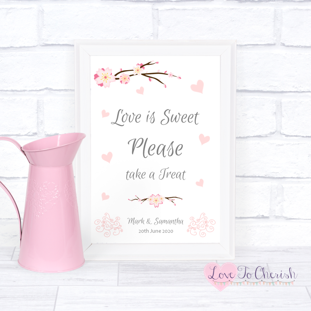 Love Is Sweet / Candy Table Wedding Sign - Cherry Blossom & Pink Hearts   L