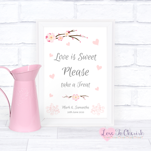 Love Is Sweet / Candy Table Wedding Sign - Cherry Blossom & Pink Hearts | L