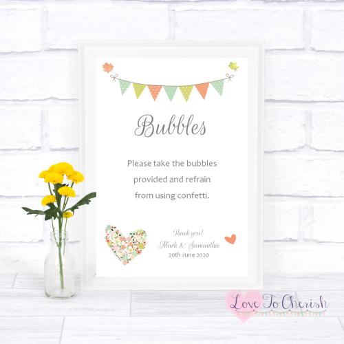 Bubbles Wedding Sign - Shabby Chic Flower Heart & Bunting  | Love To Cheris