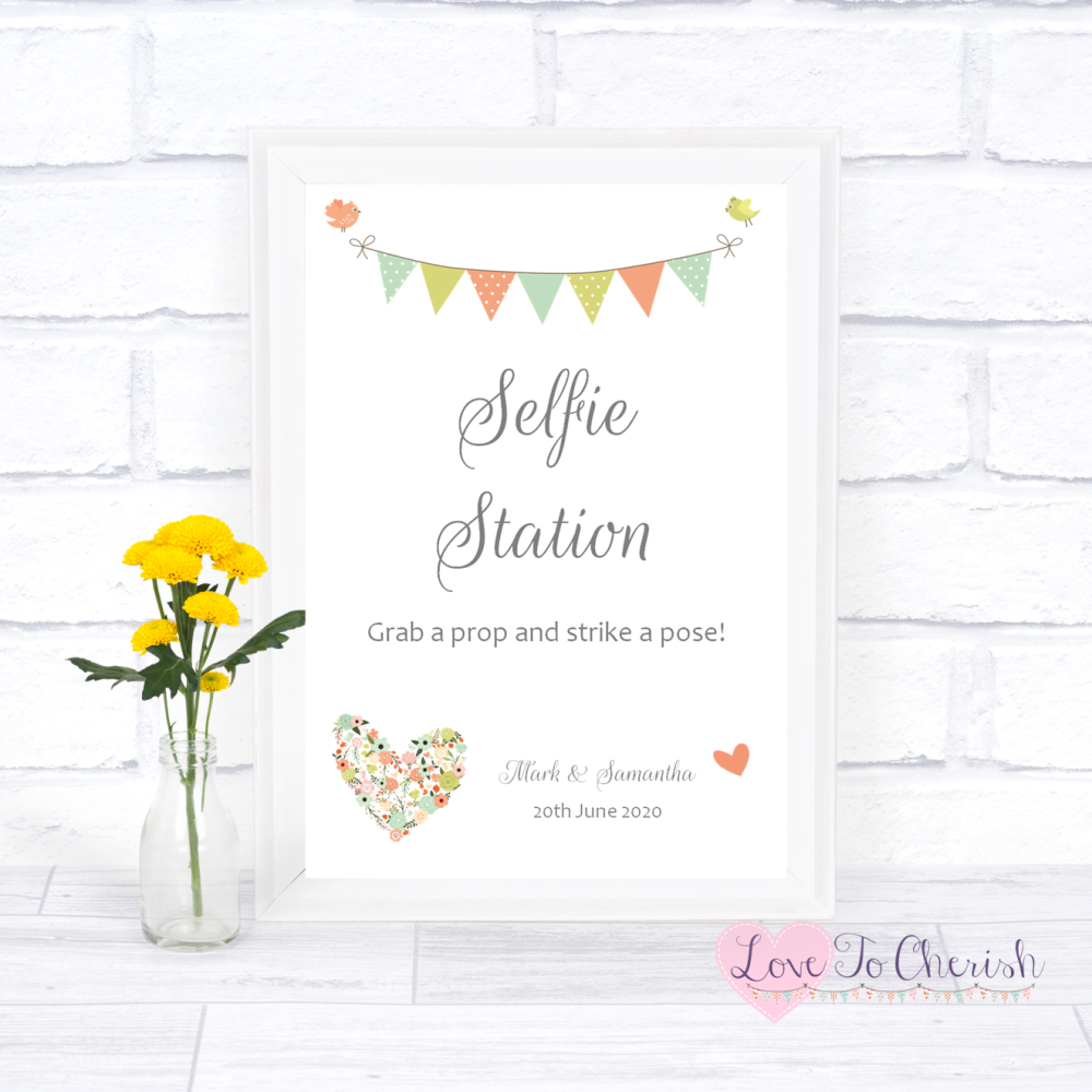 Selfie Station Wedding Sign- Shabby Chic Flower Heart & Bunting   Love To C
