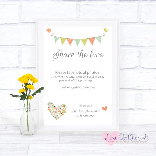 Share The Love / Photo Sharing Wedding Sign - Shabby Chic Flower Heart & Bu