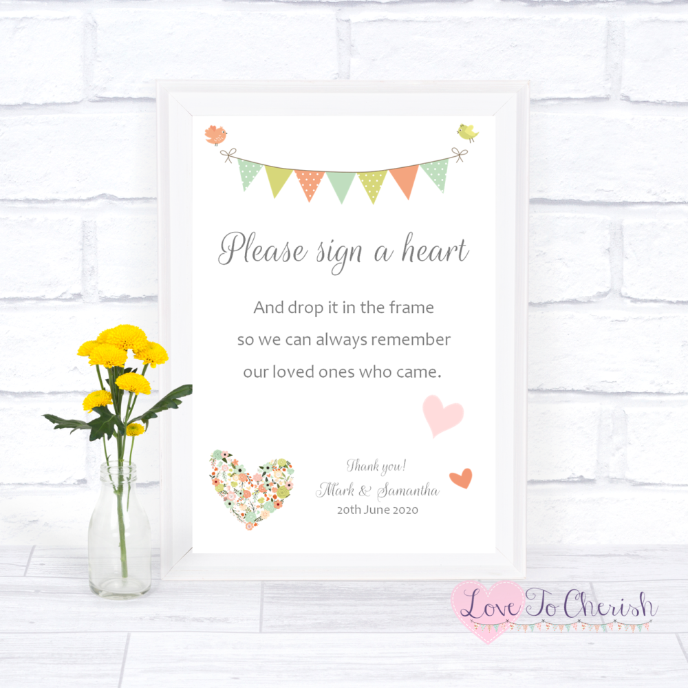 Sign A Heart Wedding Sign- Shabby Chic Flower Heart & Bunting | Love To Che