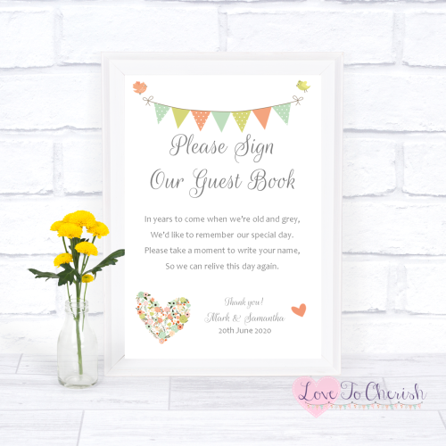 Sign Our Guest Book Wedding Sign- Shabby Chic Flower Heart & Bunting | Love