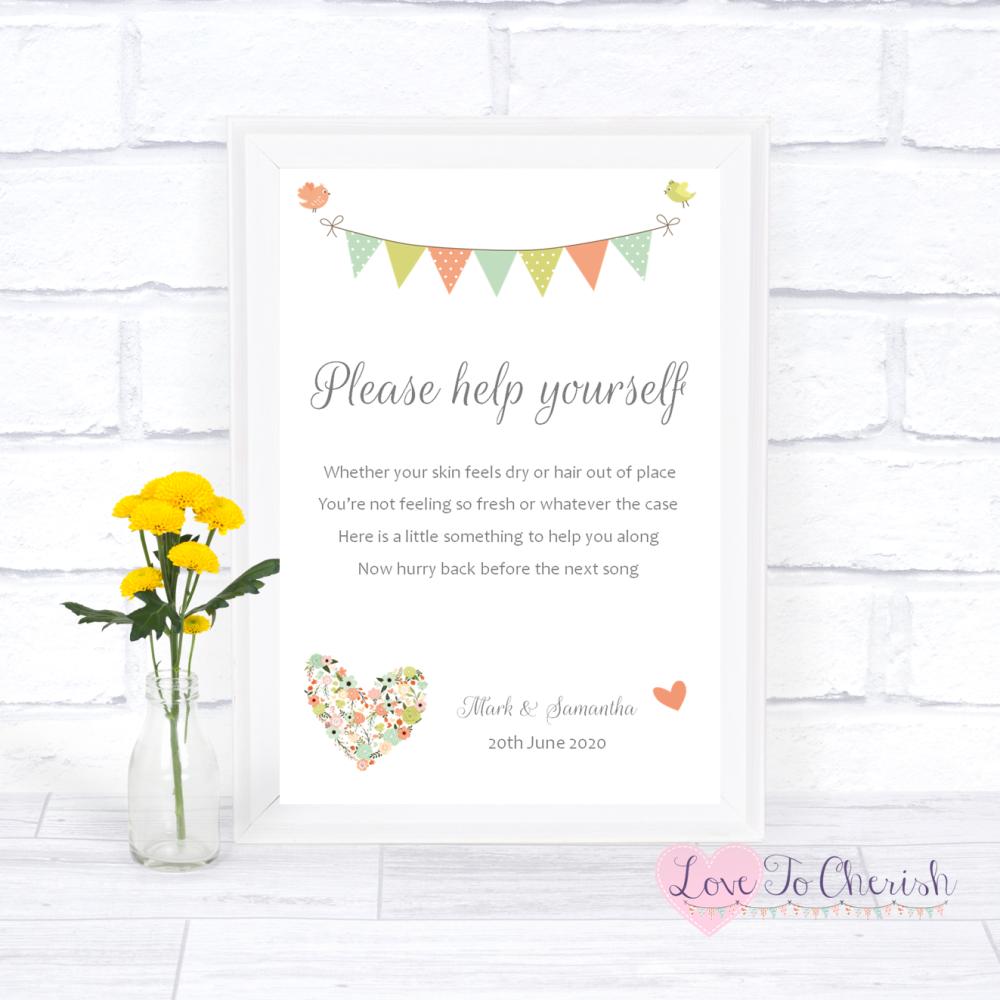 Toiletries/Bathroom Refresh Wedding Sign - Shabby Chic Flower Heart & Bunti