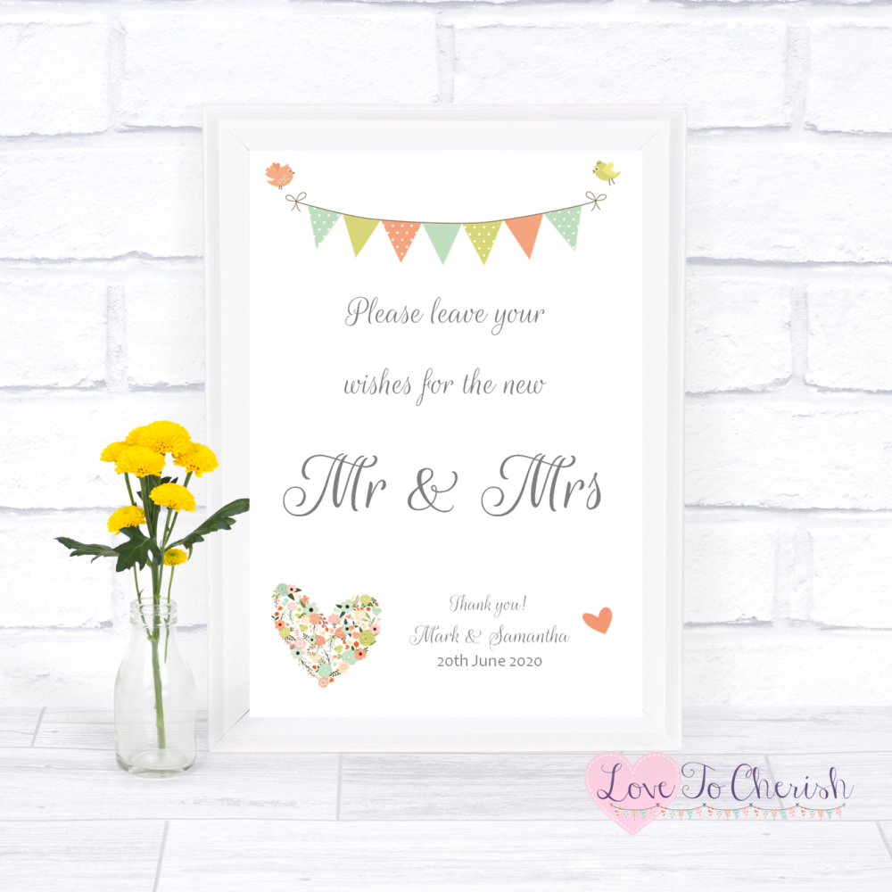 Wishes for the Mr & Mrs Wedding Sign - Shabby Chic Flower Heart & Bunting  