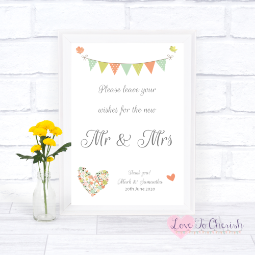 Wishes for the Mr & Mrs Wedding Sign - Shabby Chic Flower Heart & Bunting |