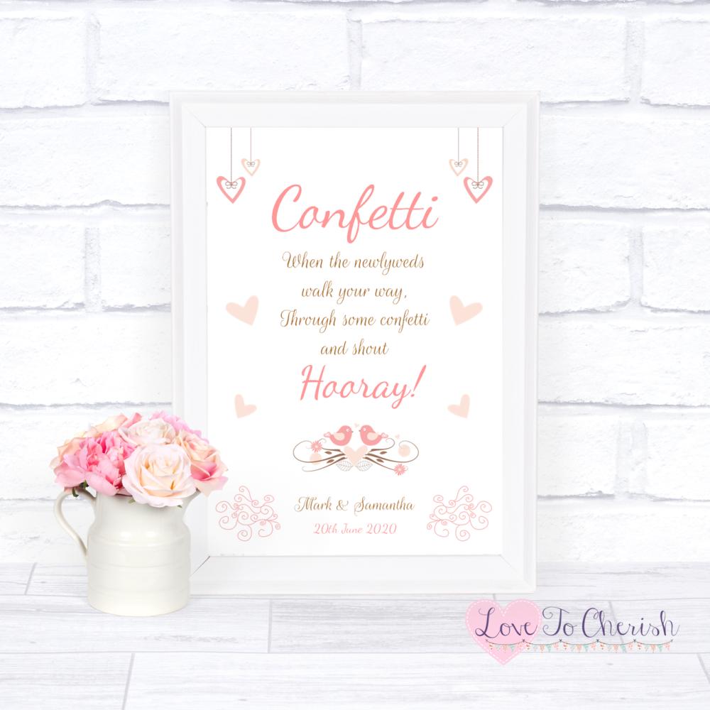 Confetti Wedding Sign - Shabby Chic Hanging Hearts & Love Birds | Love To C