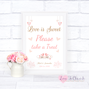 Shabby Chic Hanging Hearts & Love Birds - Love Is Sweet - Wedding Sign