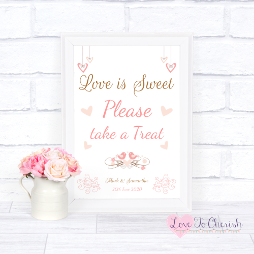 Love Is Sweet / Candy Table Wedding Sign - Shabby Chic Hanging Hearts & Lov