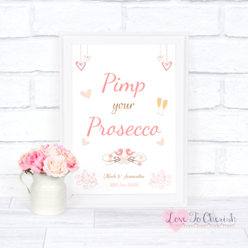 Shabby Chic Hanging Hearts & Love Birds - Pimp Your Prosecco - Wedding Sign
